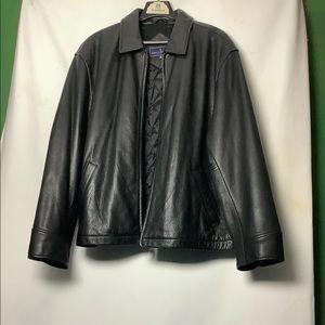 John Ashford Leather Coat Overcoat Jacket